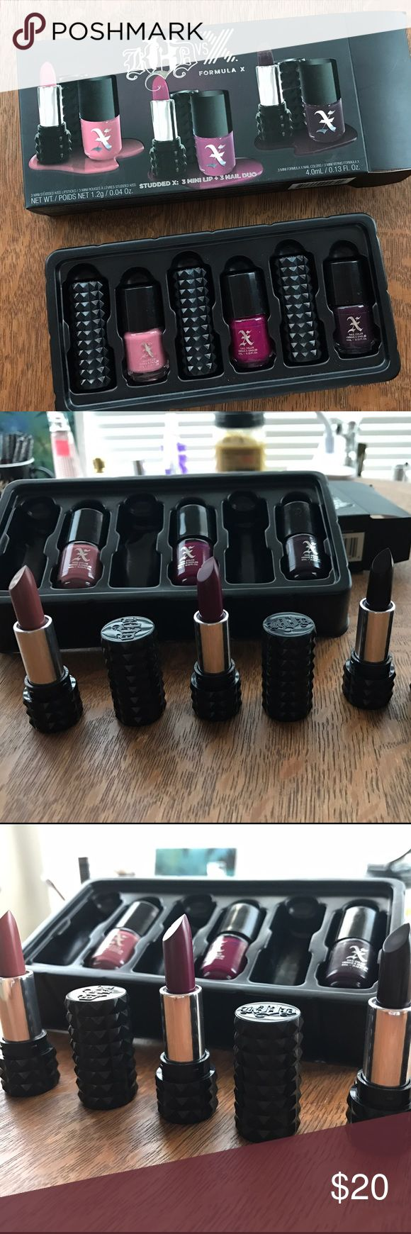 Kat Von D VS FORMULA X Studded X New  Kat Von D VS FORMULA X  Studded X: 3 Mini Lip + 3 Nail Polish Duo  KVD vs X: Round 1 / LOVECRAFT / mauve pink nude, rose clair KVD vs X: Round 2 / BAUHAU5 / deep raspberry, framboise intense KVD vs X: Round 3 / HOMEGIRL / black berry, mure sauvage  SET CONTAINS: 3 MINI STUDDED KISS LIPSTICKS / NET WT./ POIDS I NET 1.2g / 0.04Oz 3 MINI FORMULA X NAIL CLORS / 4.0mL / 0.13 Fl. Oz Kat Von D Makeup Lipstick