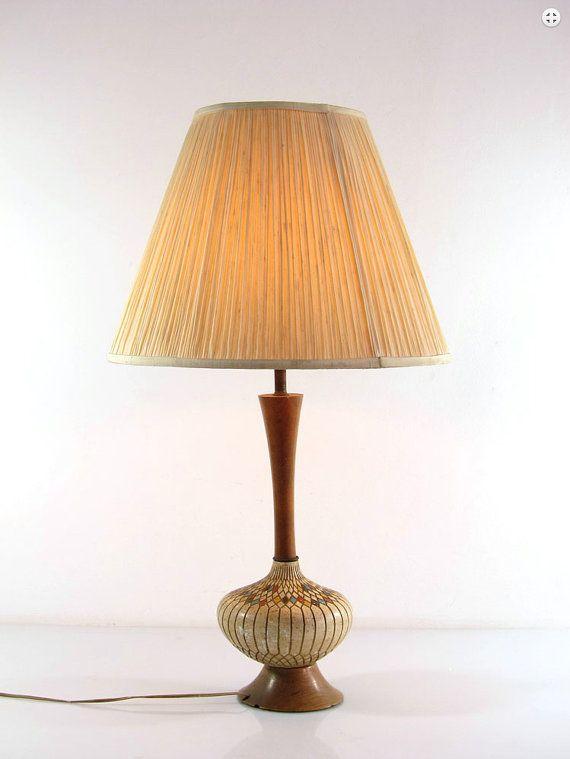 Large fifties vintage plaster and wood retro table lamp, eames, vintage, fifties, sixties, mategot, tomado, arne jacobsen, poul henningsen
