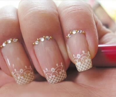 Pretty lace and bling wedding nails