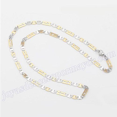 Material:Acero Inoxidable     Nombre:Cadenas en acero chapado en oro de 55cm para caballero   Model No.:SSNE008   Talla:55cm,4.5mm width   weight:11.2