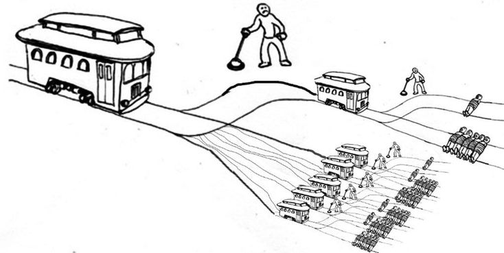 A runaway trolley is about to create 5 trolley problems. Do you pull the lever and divert it, so it only creates 1? | The Trolley Problem | Know Your Meme