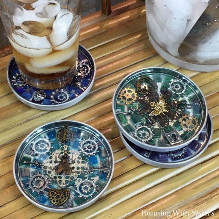 s 14 awesome things you didn t know you could do with jar and tin lids, Or glue them into steampunk coasters