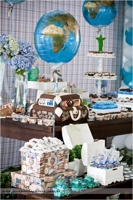17 melhores ideias sobre bolos de anivers rio de 75 anos for Around the world party decoration ideas