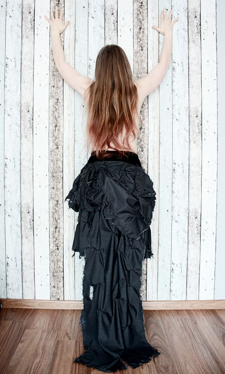 A ripped skirt inspired by gothic.