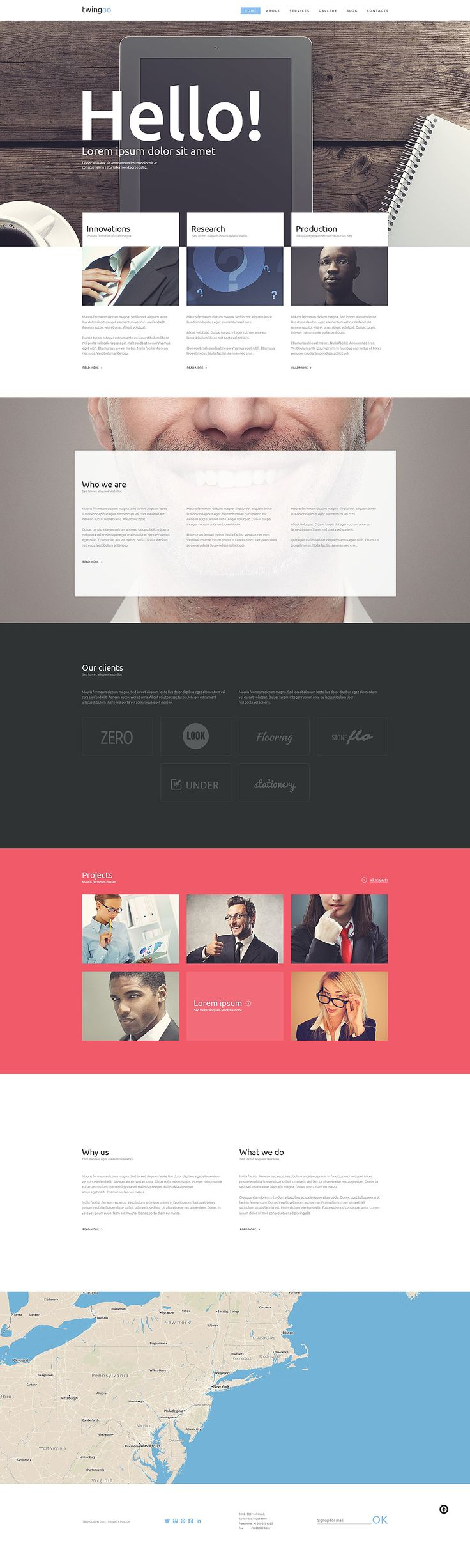 Cool layout introducing content and company