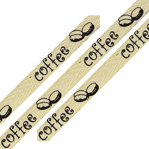 cotton ribbon coffee bean printJute Twine, Burlap Ribbons, Beans Ribbons, Coffee Beans, Coffe Prints, 25 Yards, Yards Spools, Rolls Cotton, Coffe Beans