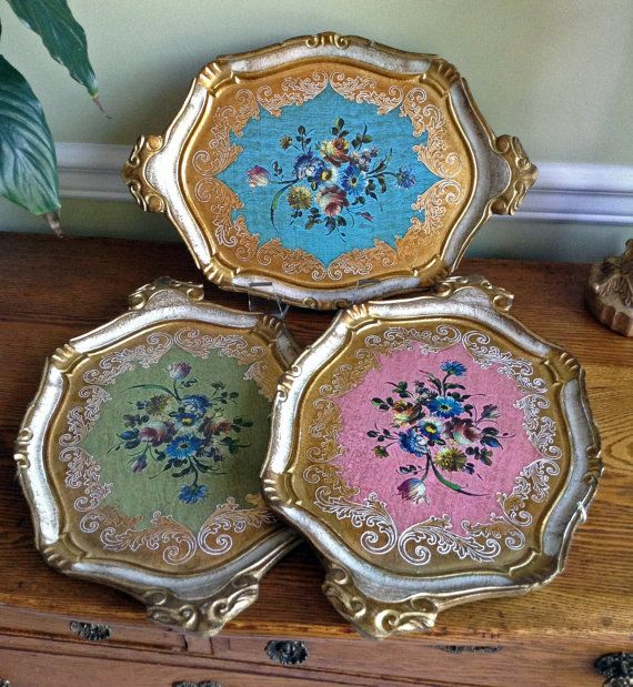 3 Italian Florentine Trays // Italian Wall Decor //  Serving Trays $75
