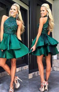 Homecoming Dress,Emerald Green Homecoming Dresses,Short Prom Dress,Beaded Prom…