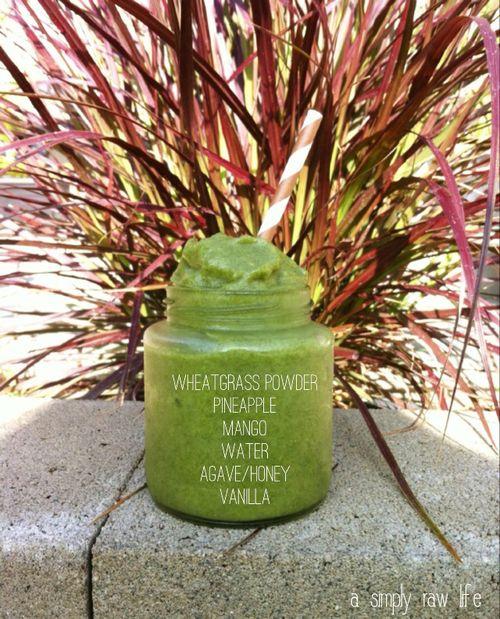 Wheatgrass Green Smoothie Shot... #asimplyrawlife Loving this wheatgrass powder in my smoothie - 30x more potent that wheatgrass juice!