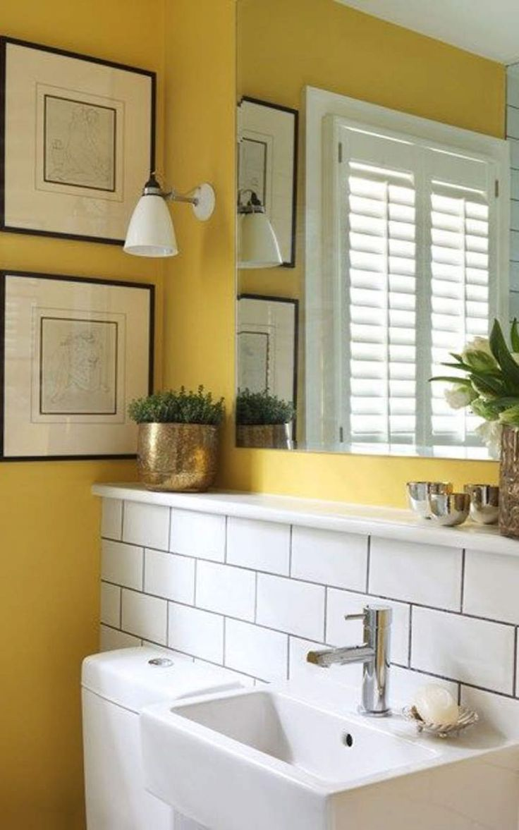 small bathroom with yellow wall colors and houseplants ideas for the