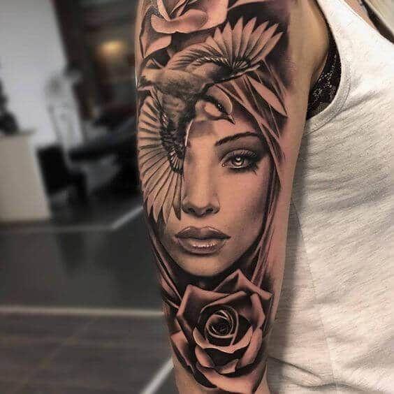 50 Sleeve Tattoos for Women, #sleeve #tattooforwomenstrength #Tattoos #Women