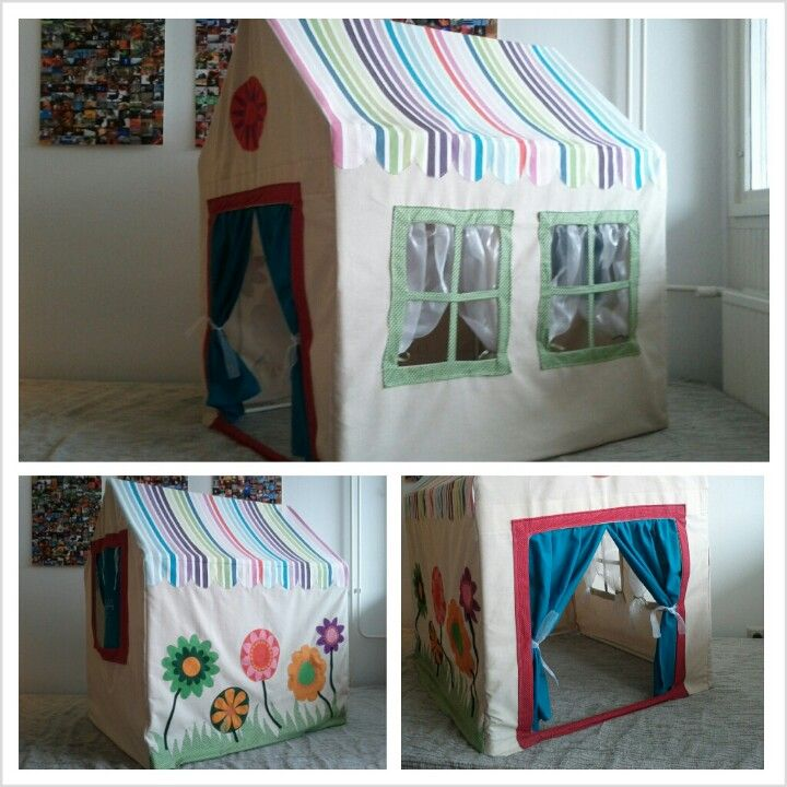 Diy fabric play house - textile cover instead of the original ugly pvc