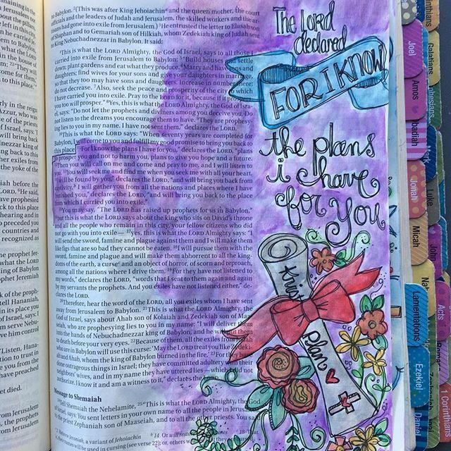 Jeremiah 29:11-14 #documentedfaith #illustratedfaith #biblejournaling #biblejournalingcommunity #icolorinmybible #kristiematthewsdesigns #craftedword #biblejournalinglife #journalingbible