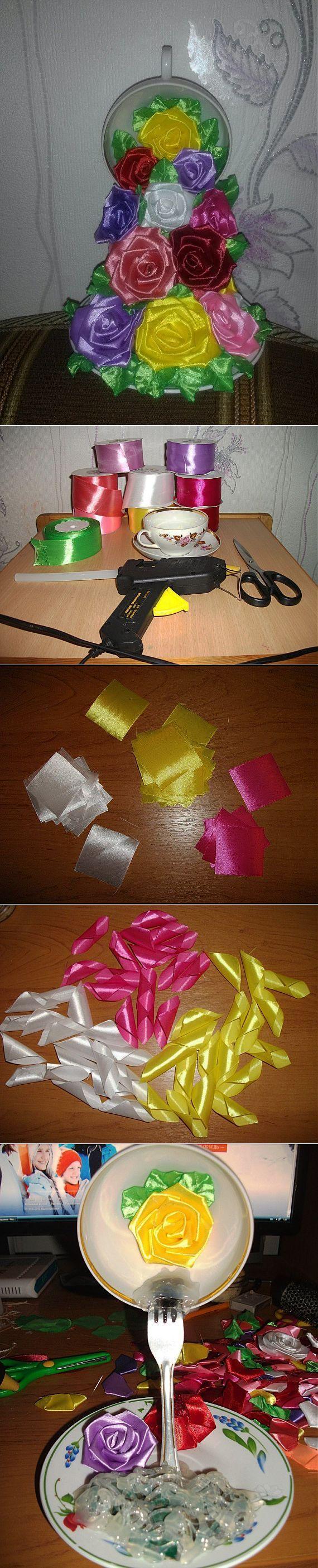 Парящая чашка 'Водопад роз' / Цветочное настроение / PassionForum - мастер-классы по рукоделию