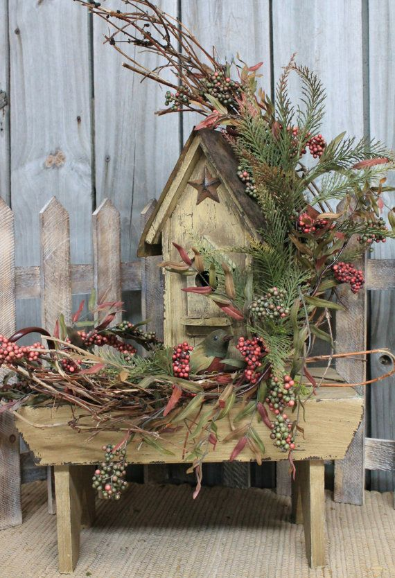 Country Birdhouse Bench Primitive Country Decor by FloralsFromHome