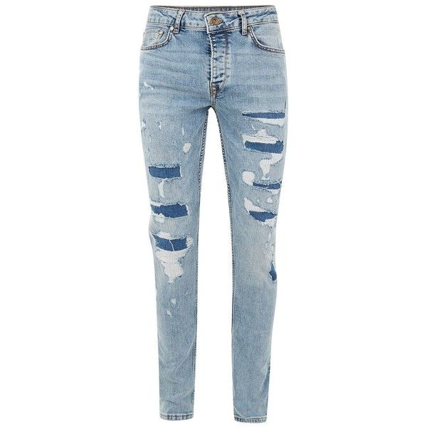 TOPMAN Mid Wash Blue Repaired Stretch Skinny Fit Jeans ($58) ❤ liked on Polyvore featuring men's fashion, men's clothing, men's jeans, blue, mens tapered leg jeans, mens stretchy jeans, mens blue skinny jeans, mens stretch skinny jeans and mens patched jeans