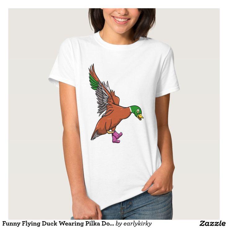 Funny Flying Duck Wearing Pilka Dot Gumboots T-shirt