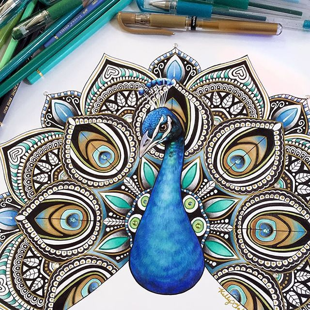 Finally finished this fun peacock mandala  Tag a peacock lover! Prints of this in 11x14 size ...
