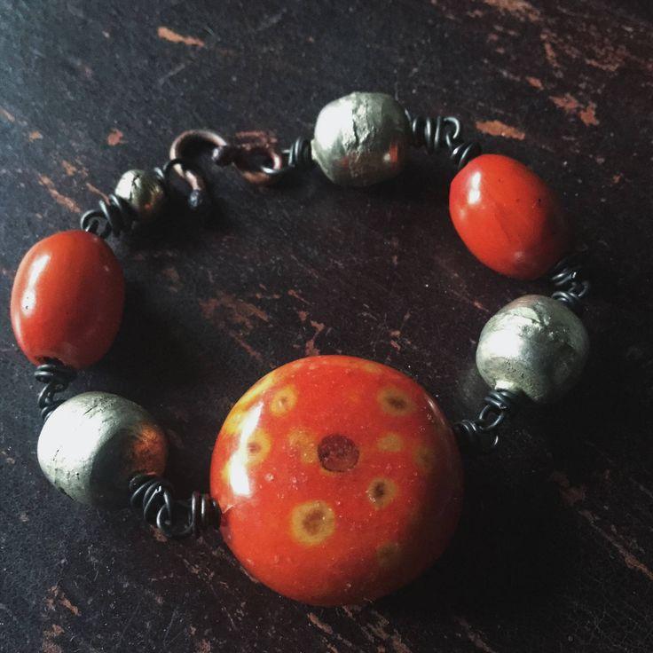 African bead bracelet | large silver beads, African silver beads, amber resin beads, orange beads, ethnic tribal, boho gypsy, boho bracelet by quisnam on Etsy