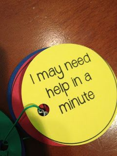 """student self-evaluations...""""I'm good to go."""" """"I need help, but it can wait a few minutes."""" """" I'm not sure what to do...need help now."""""""