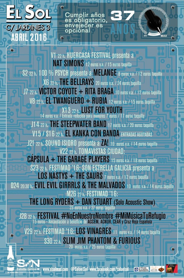 "Sala El Sol en Twitter: "" B|  Espectacular programación de abril con @eltwanguero @TheBellRays @losnastys @MiMusicaTuRefug @Nat_Simons... https://t.co/0pU7ApBNQ4"""