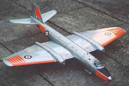 "Terry Lidstone has built  this impressive English Electric Canberra T.4 from the plans by Andy Blackburn.  All built up construction, the model spans 43"" and has a wing loading of 14oz/sq ft.  It flies well in a wide range of slope conditions.  Model is finished in silver Profilm with orange trim as per RAF trainers of this era."