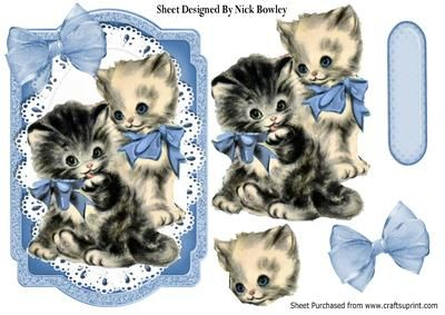 Vintage kittens with blue bows on a frame with lace on Craftsuprint - Add To Basket!