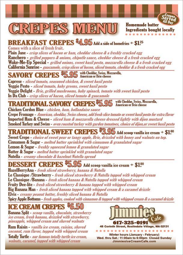 BobDWard.com - Bob D Ward Print Design & Print Production - New Crepes Menu at Jimmies Ice CreamCafe