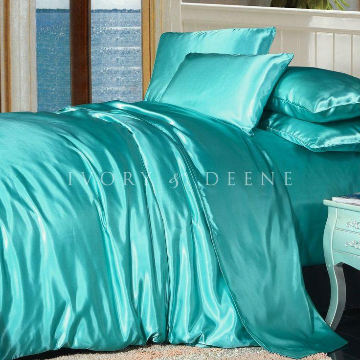 Tiffany Blue SATIN QUEEN Size Doona Cover Duvet Quilt Bed Set Soft Silk Feel NEW #IvoryDeene #Premium