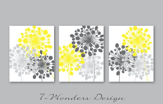 Modern Dandelion Floral Abstract Wall Art Print Set of 3. Elegant and Classy Floral Abstract Art Prints. Original Design Concept. Modern Bathroom. Bedroom, Living Room Wall Art Print Set. **Colors are fully customizable for this set.  >> Colors Shown: Charcoal Grey, Grey and Yellow  >> Set of (3) Prints, SIZES AVAILABLE: 5 X 7, 8 X 10 OR 11 X 14 (from the drop down menu during checkout). >> IMPORTANT - Art Prints come UNFRAMED (FRAMES/MATTES ARE FOR DISPLAY ONLY) >> CHANGING COLORS - In a…