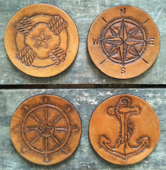 Nautical Leather Coasters/ Veg-tanned hand-tooled leather coaster set of 4