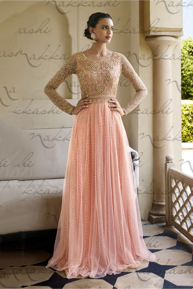 Peach Colour Mono Net and Santoon Fabric Designer Semi Stitched Salwar Kameez Comes With Matching Santoon Fabric Bottom and Chiffon Fabric Dupatta. This Suit Is Crafted With Diamond Work,Resham Work. ...