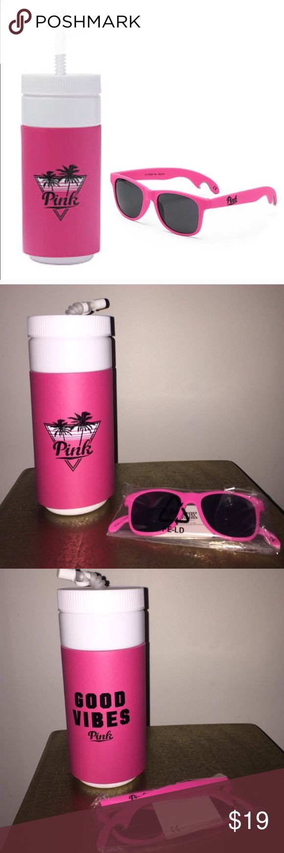NWT VS PINK Good Vibes Spring Break Waterbottle Brand new in plastic packaging! Victoria's Secret PINK Spring Break essential - big water bottle with a straw that reads GOOD VIBES with the pink logo. Perfect for the upcoming warm weather. Super cute in hot pink! Brand new! Retails at $24.95 PINK Victoria's Secret Accessories