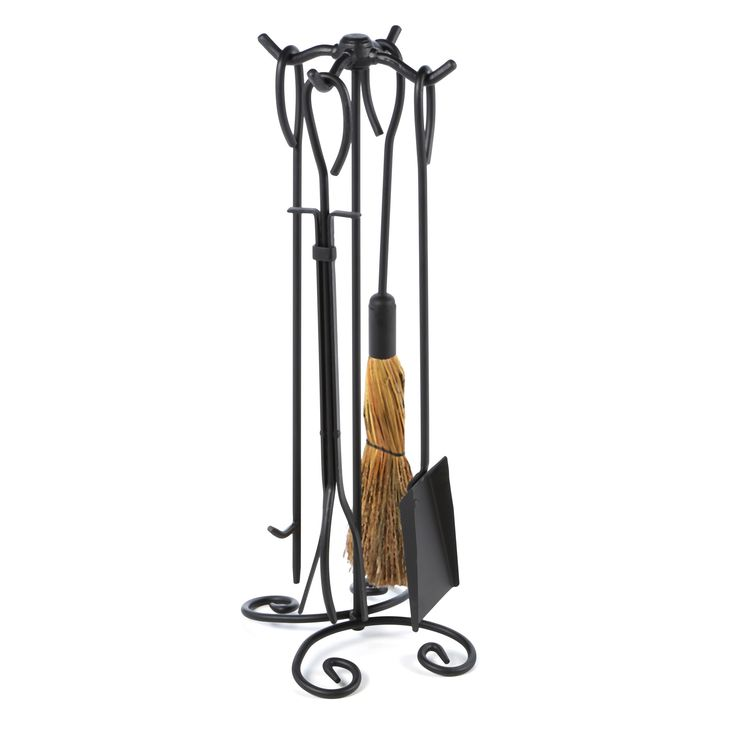 Features: -Ring Handles. -Includes brush, poker, tongs, shovel, and stand. Product Type: -Fireplace tool. Finish: -Black. Primary Material: -Iron. Dimensions: Overall Height - Top to Bottom: -28
