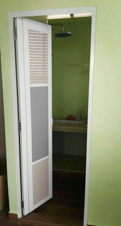 Slide and swing toilet door with modern design, save space and waterproof,  up to
