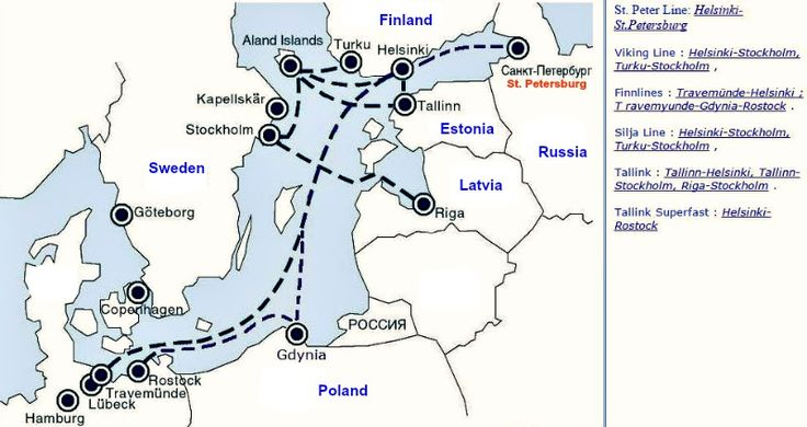 Map of the Baltic Sea Ferry Routes.