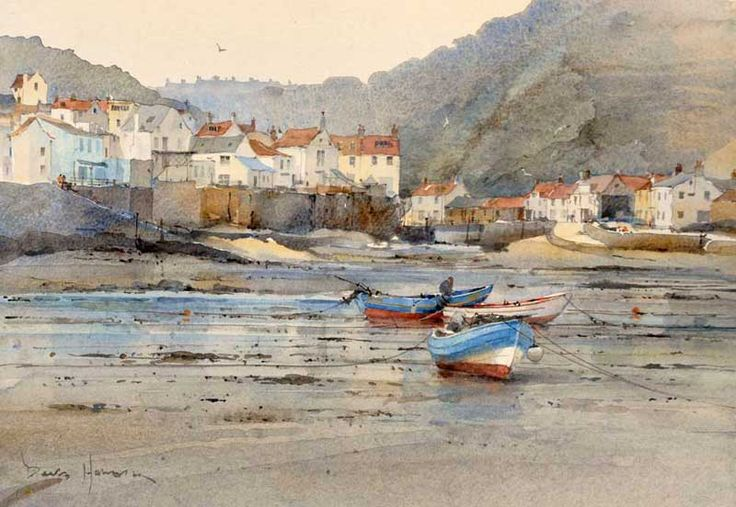 Artist: David Howell, PRSMA; Painting: Low Water at Staithes 27 x 36 cm