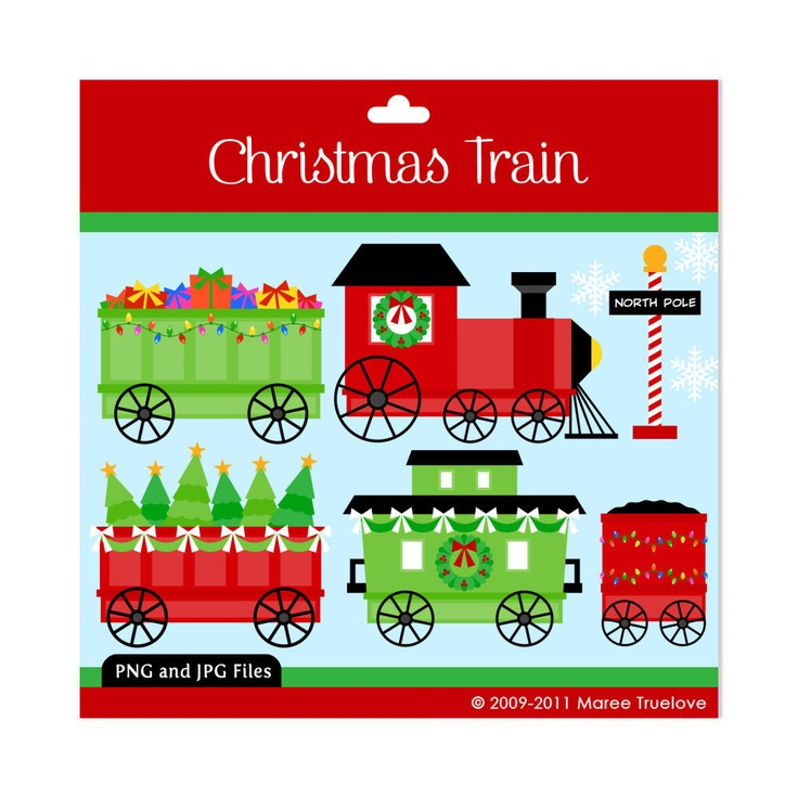 Christmas Train Clipart - Digital Clip Art Graphics for Personal or ...