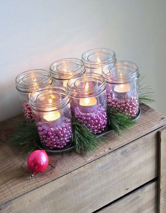 Christmas mason jar luminaries centerpiece purple