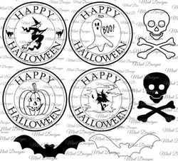 HALLOWEEN digi stamp set  Circle sentiment stamps  bats  skull   crossbones  Pumpkin  Witch  Ghost on Craftsuprint - View Now!
