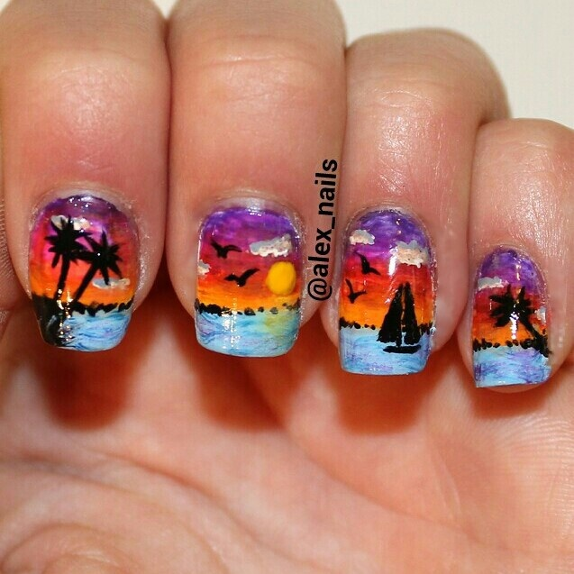 Summer beach sunset scenery nail art - 102 Best Nail Art: ALL OTHERS Images On Pinterest Make Up