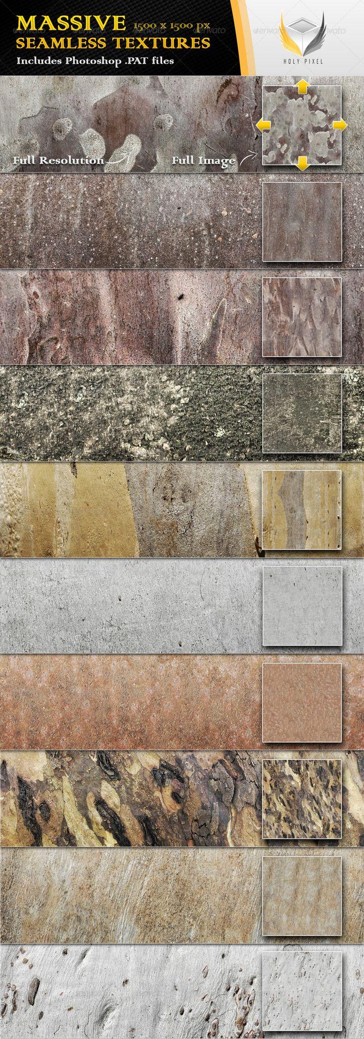 10 Seamless Smooth Bark Textures - Nature Textures / Fills / Patterns