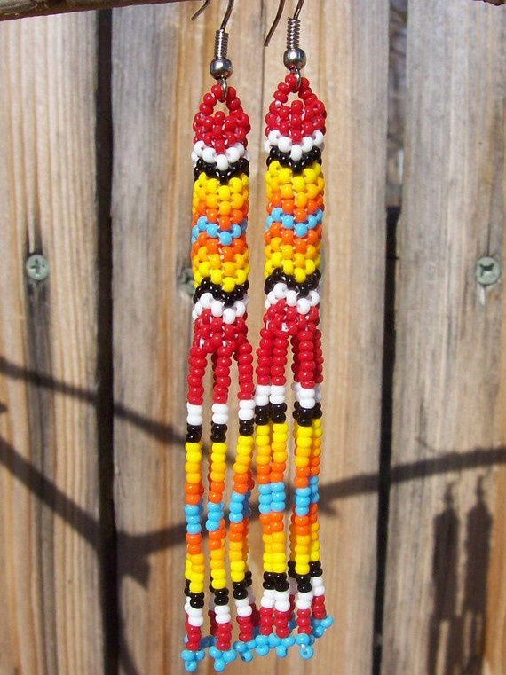 Native american beaded earrings gathering bead for What crafts did the blackfoot tribe make