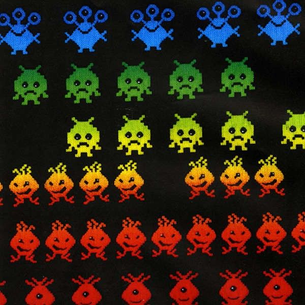 Timeless treasures black arcade game space invaders for Space fabric nz