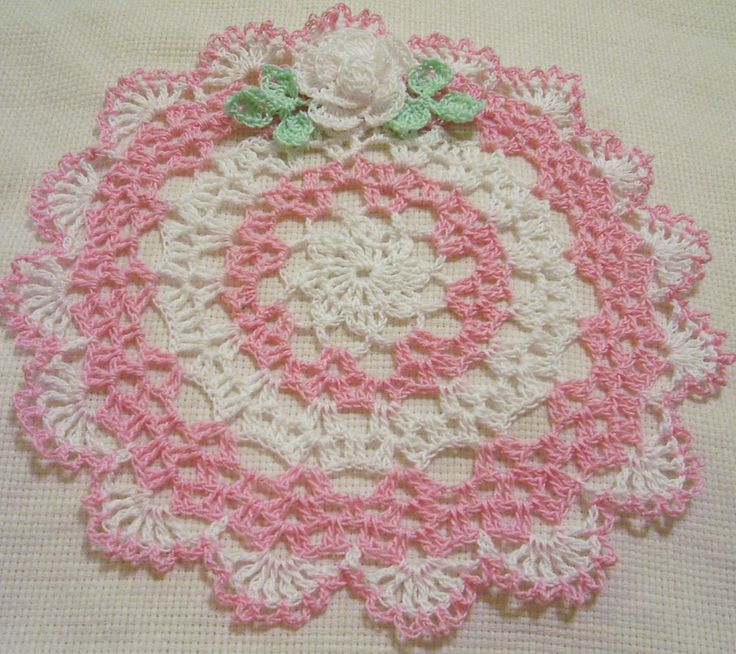 pink lace rose crocheted doily by Aeshagirl