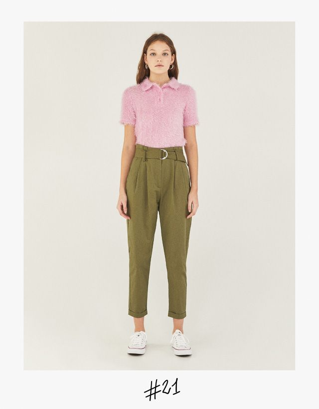 Paperbag trousers with belt - Bershka  fashion  product  paperbag  trousers   pantalón  khaki  caqui  verde  green  girl  girly  trend  trendy  cool 8ef2966c11c7