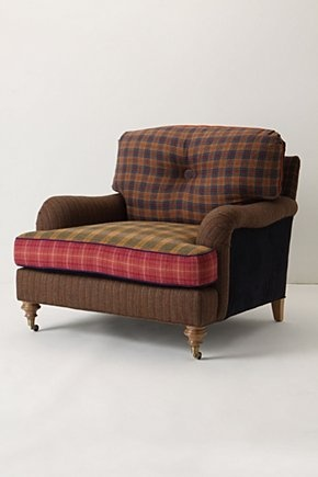 plaid chair to curl up and read in