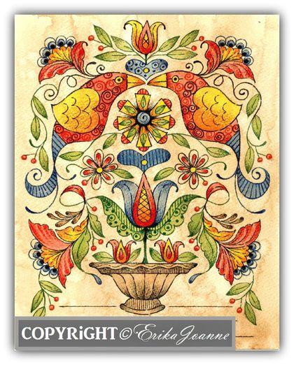 fraktur patterns | fraktur fancy instructional pattern birds tulips and flowers graced ...