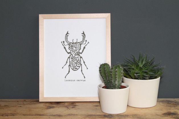 """""""Lucanus cervus"""" ist ein von Hand gefertigter Siebdruck nach eigenem Motiv  auf fein strukturiertem Aquarellpapier.  www.blaurotgrau.blogspot.de"""