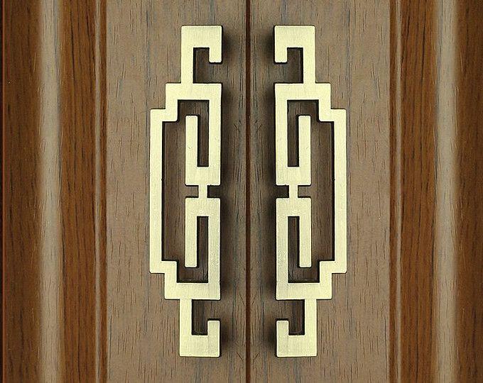 Paar Chinese stijl antiek trekt knoppen/symmetrie deurkrukken grepen lade trekt / keukenkast Pull behandelt dressoir lade Pull knoppen